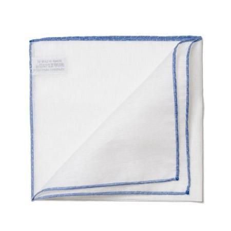 Les essentiels » Mouchoir de poche blanc à bord bleu