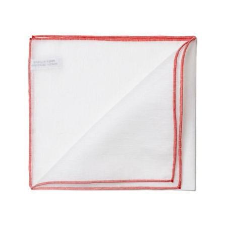 Les essentiels » Mouchoir de poche blanc à bord rouge