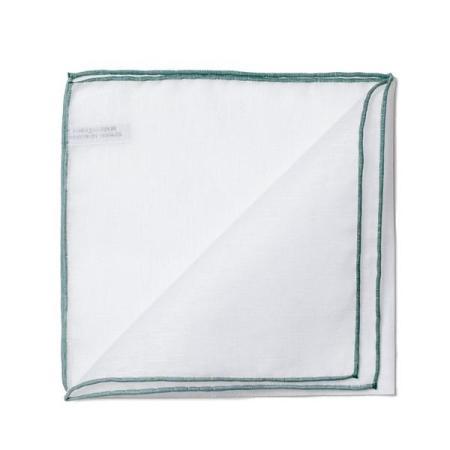 Les essentiels » Mouchoir de poche blanc à bord vert foncé