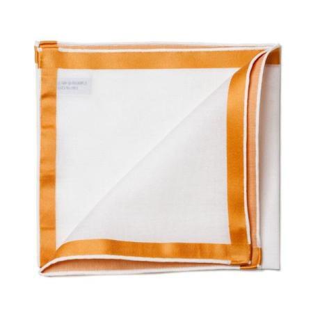 Les essentiels » Mouchoir de poche blanc à satin cuivre