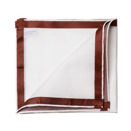 Les essentiels » Mouchoir de poche blanc à satin marron