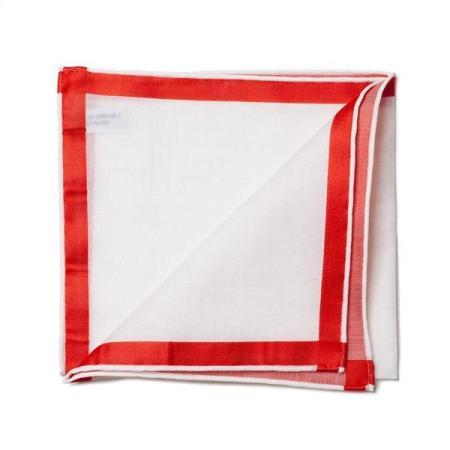 Les essentiels » Mouchoir de poche amalfi blanc à satin rouge