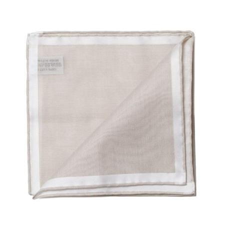 Les essentiels » Mouchoir de poche amalfi beige à satin blanc