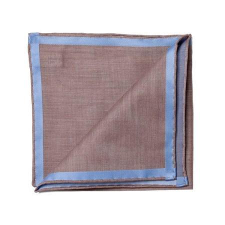 Les essentiels » Mouchoir de poche marron à satin ciel
