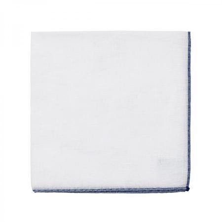 Les essentiels » Mouchoir de poche blanc à bord indigo