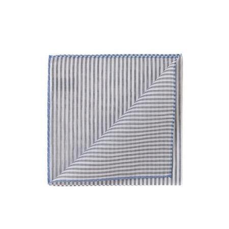Les essentiels » Pochette rayures gris  à bord bleu